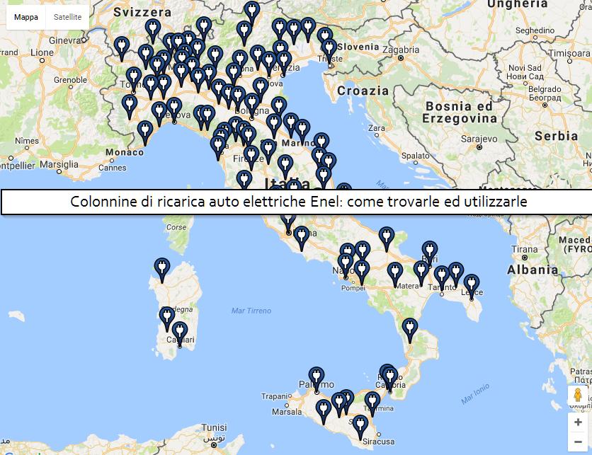 Colonnine di ricarica auto elettriche Enel: come trovarle ed utilizzarle